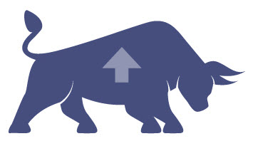 Image of market bull and up arrow.