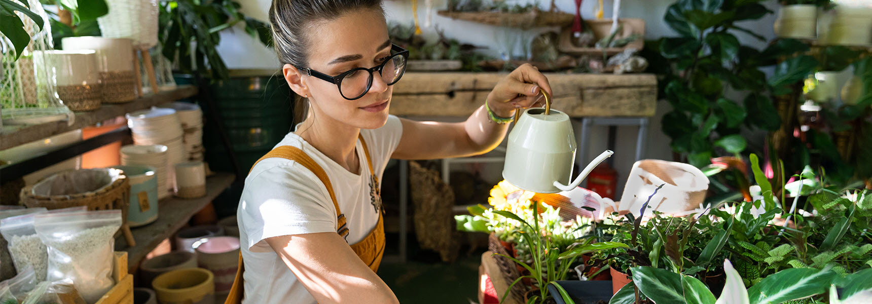 Photo of woman watering plants in a greenhouse depict someone beginning to invest money.