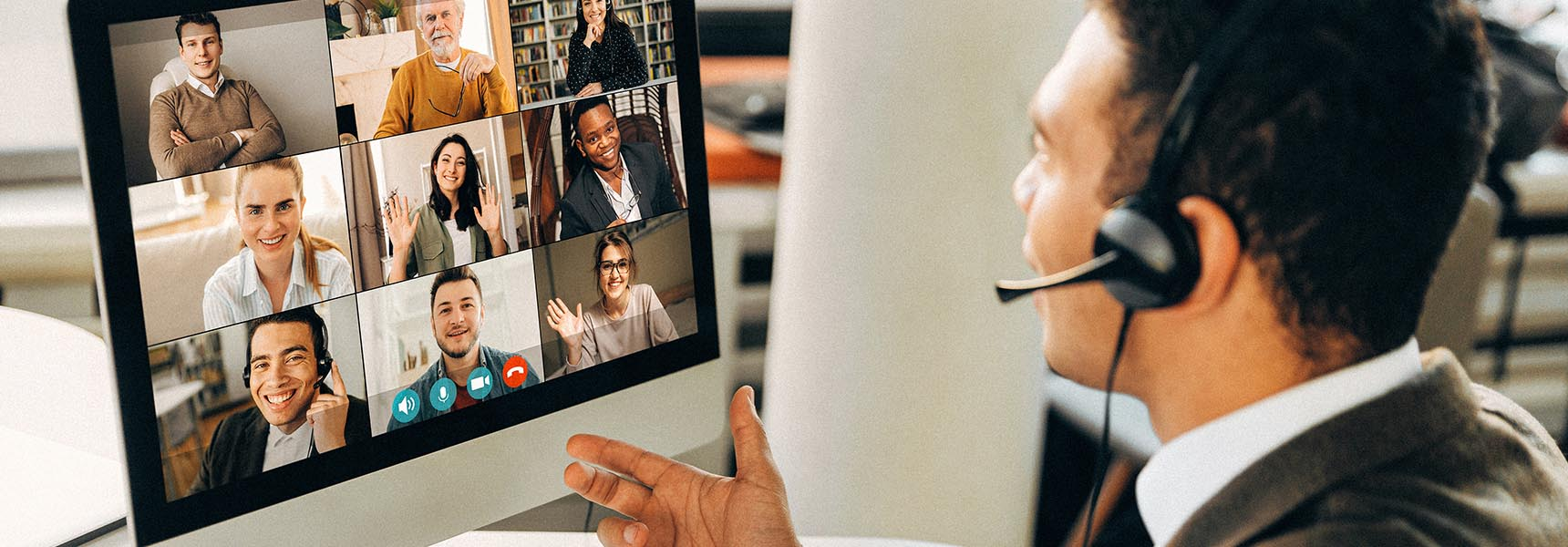 Photo of a man in an online meeting.