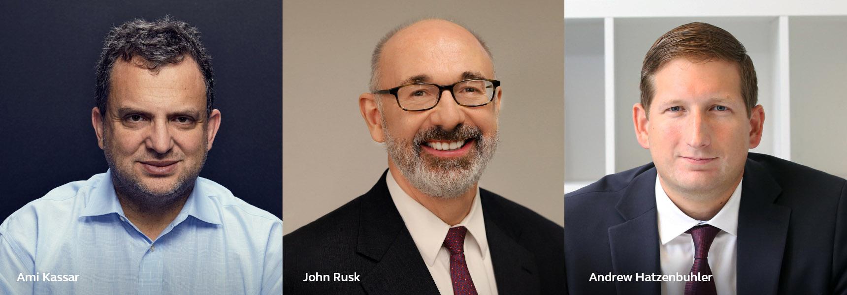 Photo of Ami Kassar, John Rusk, and Andrew Hatzenbuhler.
