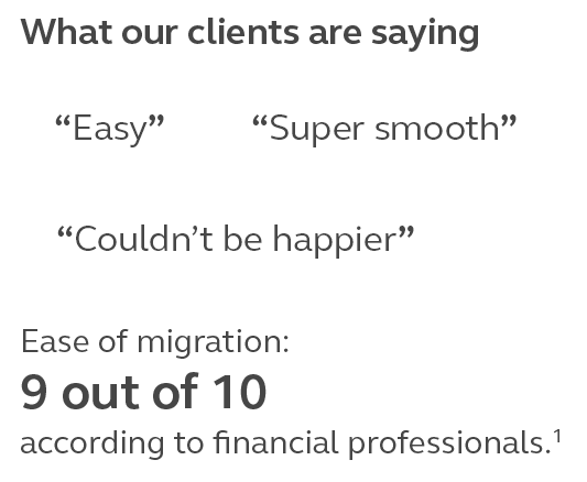 Graphic that provides quotes that clients are saying the transition is easy and super smooth.