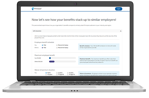 Photo showing report of how a small business owner's employee benefits compare to similarly sized organizations.