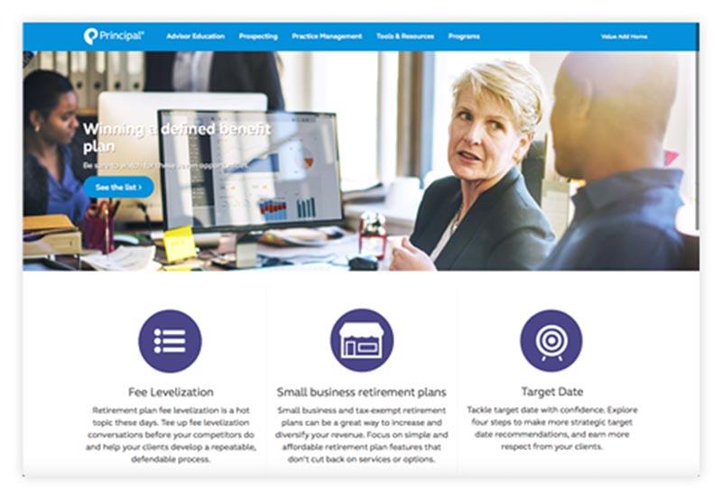 Principal value add website for advisors