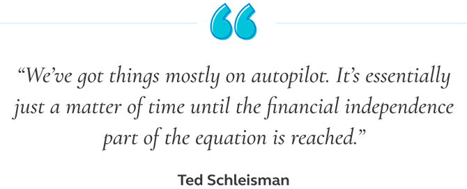 Quote from Ted Schleisman saying that we've got things mostly on autopilot. It's essentially just a matter of time until the financial independence part of the equation is reached.
