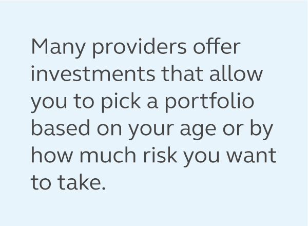 Graphic of a quote from the article saying, many employers offer investments that allow you to pick a portfolio based on your age or by how much risk you want to take.