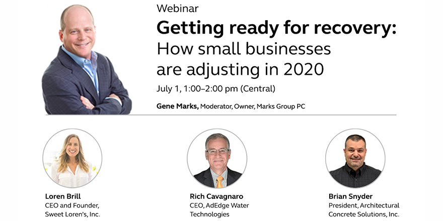 Graphic of a webinar about how small businesses are adjusting in 2020.