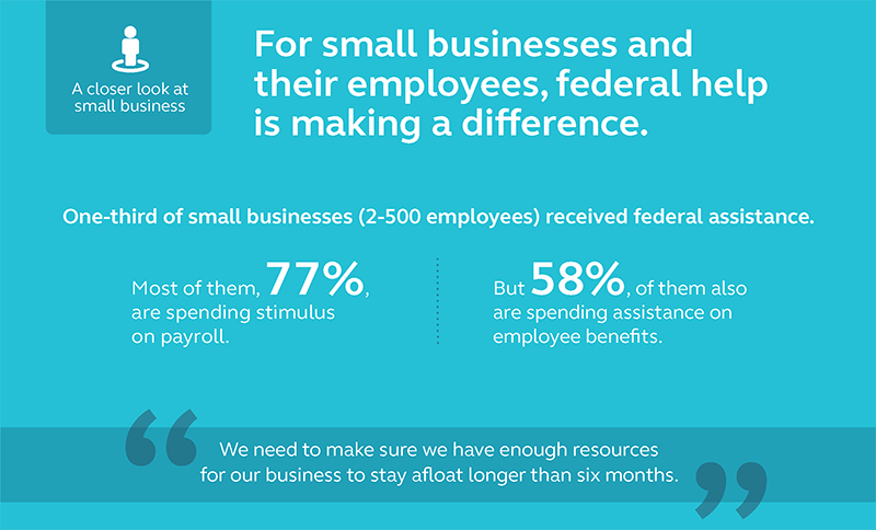 Graphic showing that 33% of the business surveyed received federal assistance.