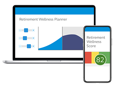 Photo of a laptop and smartphone displaying the Retirement Wellness Score.