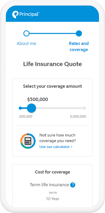Photo of the life insurance calculator on a mobile phone.