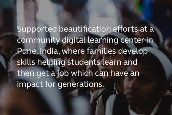 Image saying that last year our employees supported beautification efforts at a community digital learning center in Pune, India.