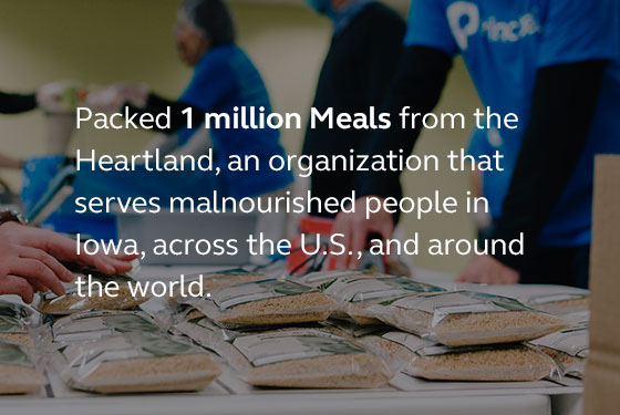 Image saying that last year our employees packed 1 millions meals for the organization Meals from the Heartland.