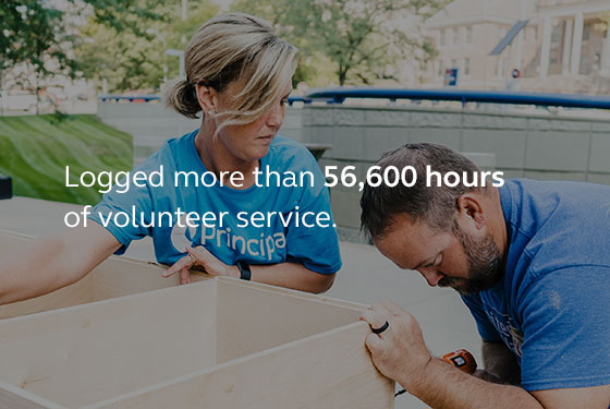 Image saying that last year our employees logged more than 56,000 hours of volunteer service.