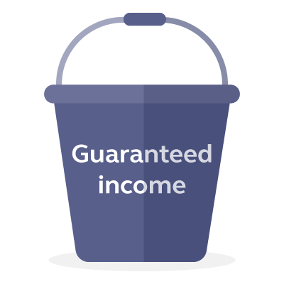 Graphic of a guaranteed income bucket.