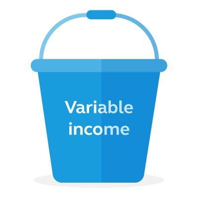 Graphic of a variable income bucket.