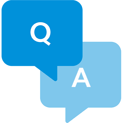 Icon demonstrating question and answer