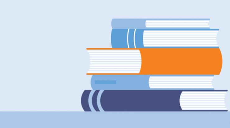 Image of books which include information on a retirement education program.
