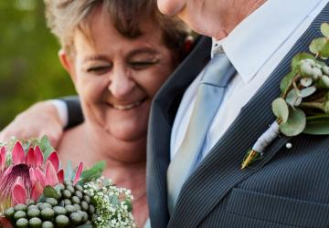 Photo of a couple who have talked about the financial considerations since they are marrying later in life.