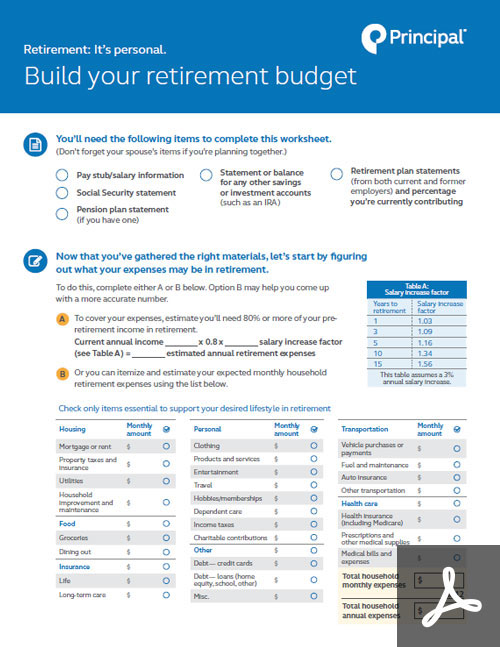 Thumbnail of the retirement budget worksheet.
